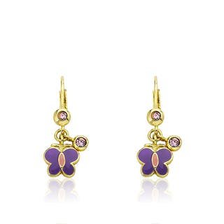 Little Miss Twin Stars Charming Treats Goldplated Lavender Enamel Dangle Leverback Earring|https://ak1.ostkcdn.com/images/products/12484378/P19295001.jpg?impolicy=medium