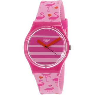 Swatch Women's Originals GP144 Pink Silicone Swiss Quartz Watch