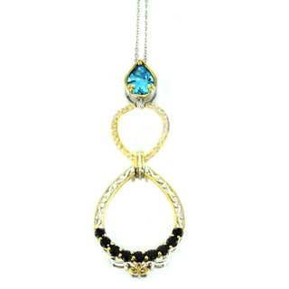 One-of-a-kind Michael Valitutti London Blue Topaz and Black Spinell Pear Drop Pendant