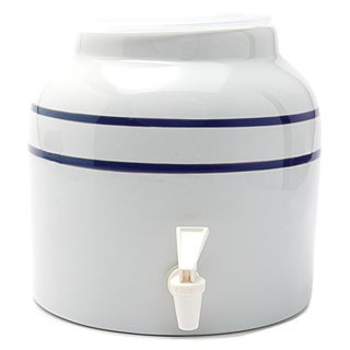 Goldwell Enterprises Inc DS171 2-1/2 Gal Blue Stripe Porcelain Water Dispenser Crock