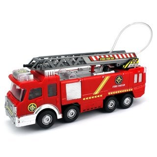 Velocity Toys Fire Squad Water Squirting Battery Operated Kid's Bump-and-Go Toy Fire Truck