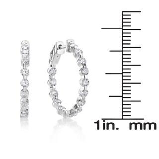SummerRose 14k White Gold 2 1/4ct TDW Diamond Hoop Earrings