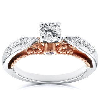 Annello by Kobelli 14k White Gold and Rose Gold Layered 1/2ct TDW Diamond Unique Engagement Ring