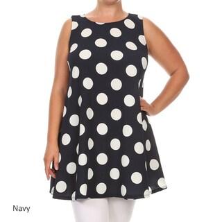 Women's Polyester/Spandex Polka Dot Plus-size Tank Top