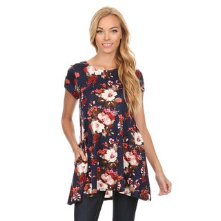 Women's Blue/Black Floral Pattern Rayon/Spandex Top