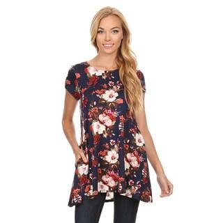 Women's Blue/Black Floral Pattern Rayon/Spandex Top
