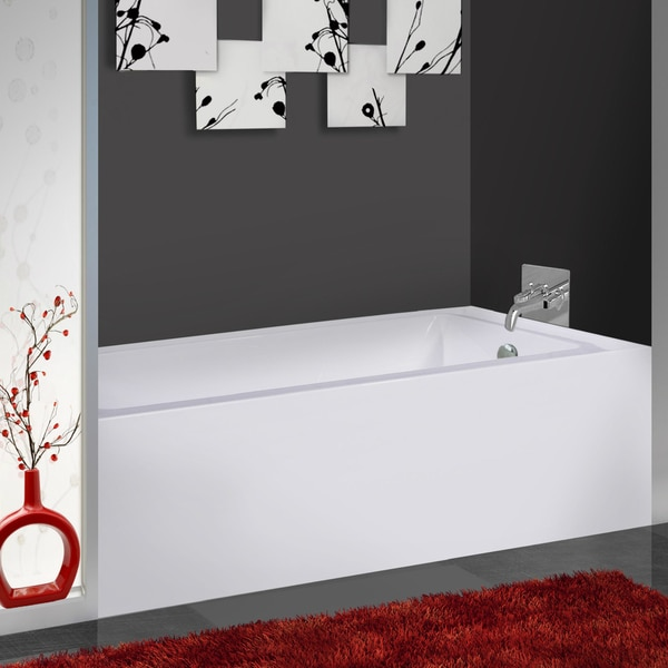 Fine Fixtures White Acrylic Apron 60-inch x 32-inch x 21-inch Left-hand Soaking Bathtub