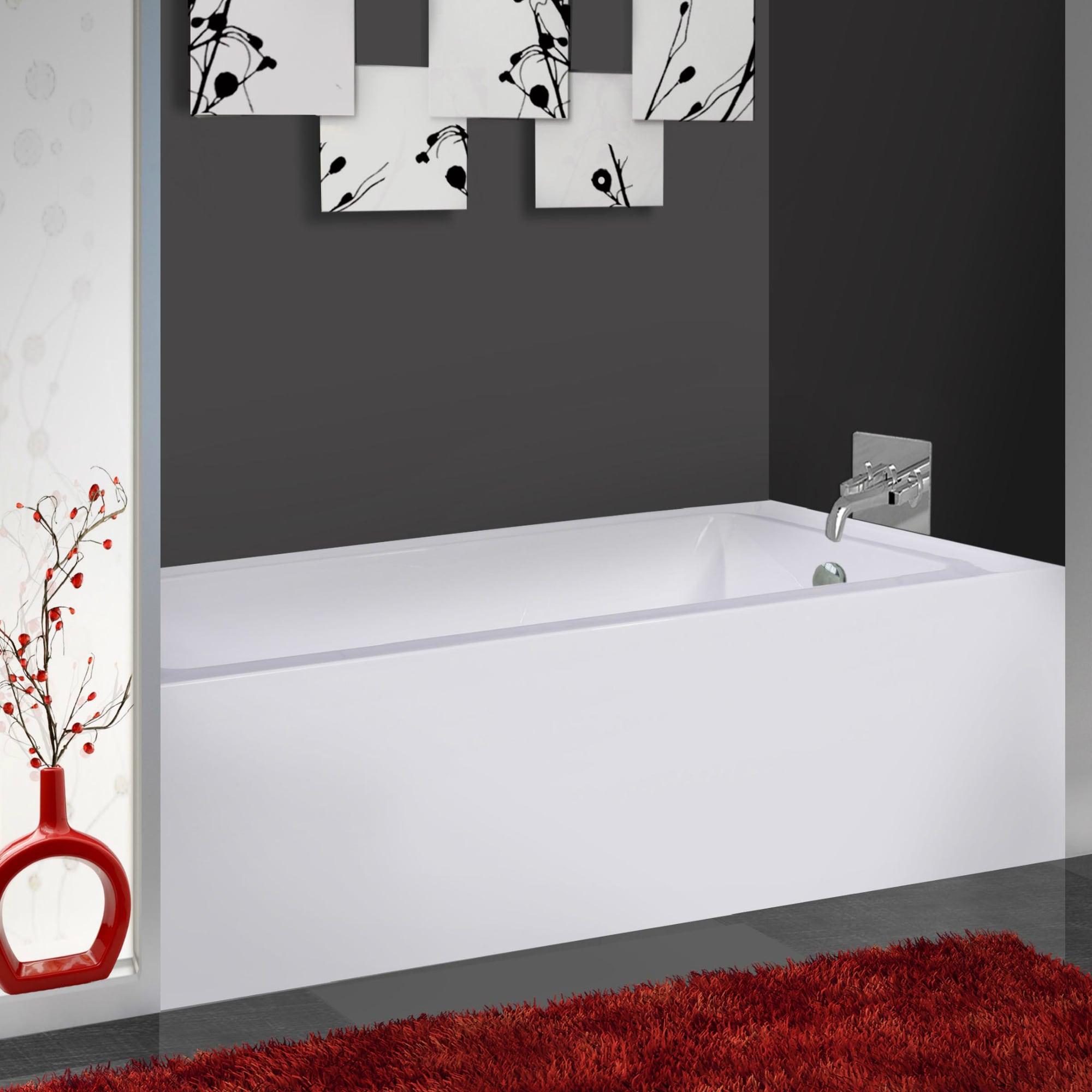 Fine Fixtures White Acrylic 60-inch Rectangle Soaking Bat...
