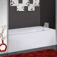 Fine Fixtures White Acrylic 60-inch Rectangle Soaking Bathtub