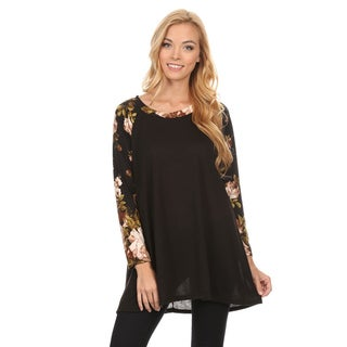 Women's Black with Floral-pattern Sleeve Tunic