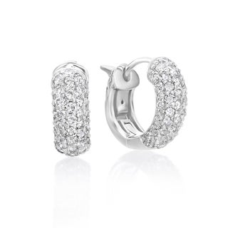 SummerRose 14k White Gold 1ct TDW Diamond Hoop Earrings (H-I, SI2-I1)