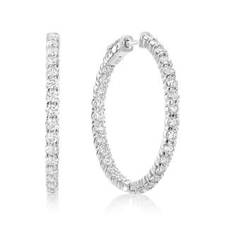 SummerRose 14k White Gold 4ct TDW Diamond Inside-out Hoop Earrings