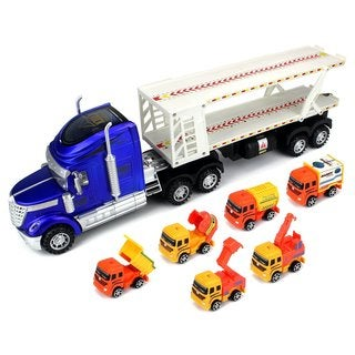 Velocity Toys Super Construction Power Trailer Friction Toy Trucks (Set of 6)