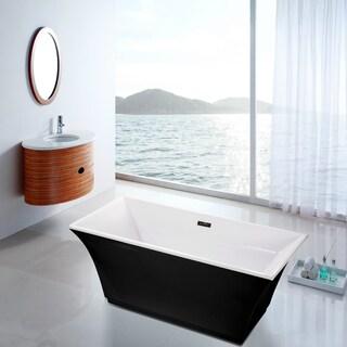 Fine Fixtures Black Acrylic 67-inch x 30-inch x 23-inch Free-standing Bathtub