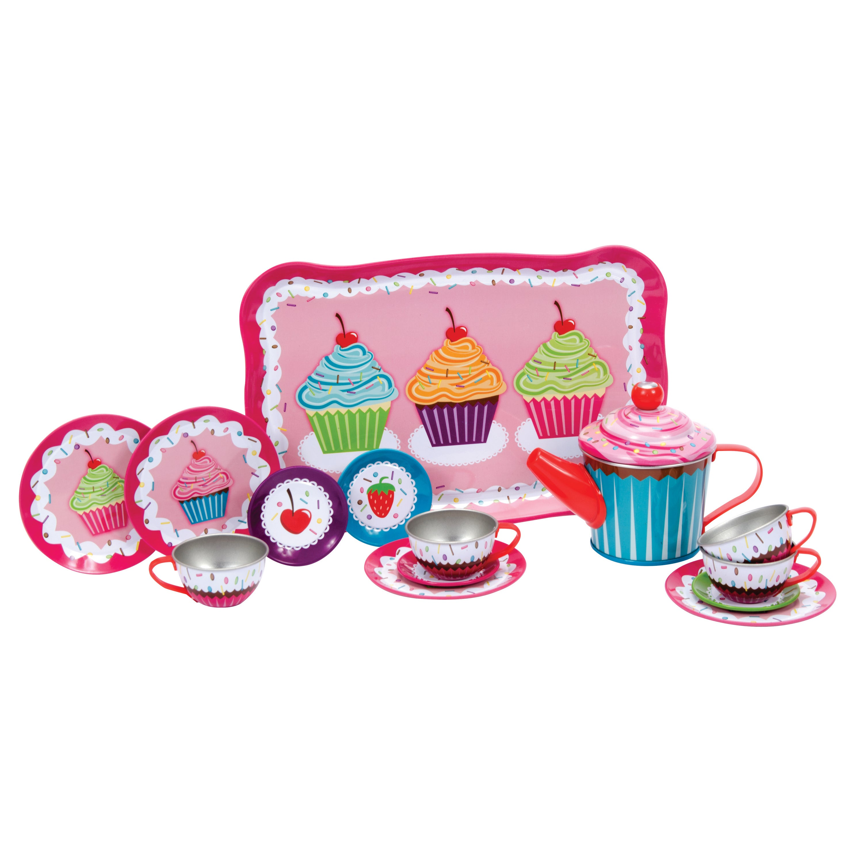 Schylling Cupcake 15-piece Tin Tea Set (G019649231348), B...