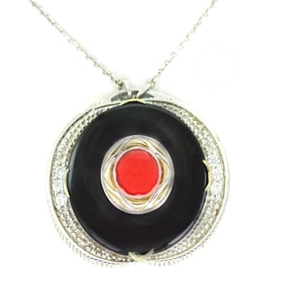 One-of-a-kind Michael Valitutti Black Onyx, Red Jade and White Zircon Round Pendant