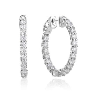 SummerRose 14k White Gold 3ct TDW Diamond Hoop Earrings (H-I, SI2-I1)