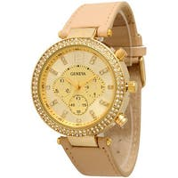 Olivia Pratt Women's Fashionable 3-dial Rhinestone-accented Watch
