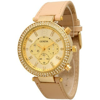 Olivia Pratt Women's Fashionable 3-dial Rhinestone-accented Watch (Option: Beige)