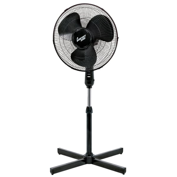 Comfort Zone CZST161BTEBK 3-Speed Adjustable-Height 16-inch Oscillating Pedestal Fan with Quad-Pod® Folding Base