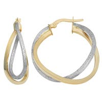 Fremada Italian 14k Two-Tone Gold Overlapping Double Hoop Earrings