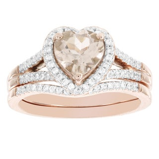 H Star 14k Rose Gold Heart-shaped Morganite 1/4ct TDW Diamond Bridal Set (H-I, I1-I2)