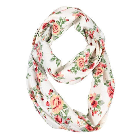 Peach Couture Vintage Floral Print Infinity Looped Scarf