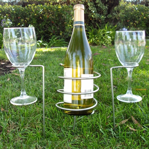 Epicureanist Wine Bottle and Glass Holding Stakes, 2 Sets