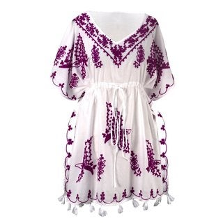 Peach Couture Women's Cotton Floral Embroidered Summer Beachwear Tunic