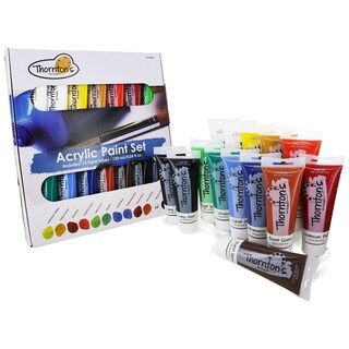 Thornton's Art Supply Assorted Color Acrylic 120-milliliter (4-ounce) 14-piece Paint Tube Set