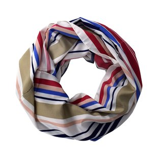 Peach Couture Vintage-style Neutral-striped Multicolored Light Infinity Loop Scarf