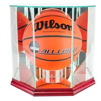 Octagon Basketball Cherry Finish Display Case