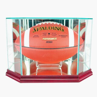 Octagon Football Cherry Finish Display Case