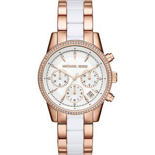 Michael Kors Women's MK6324 'Ritz' Rose and White Stainless Steel and Acetate Watch