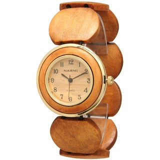 Olivia Pratt Women's Brown Metal/Stainless Steel Wood-style Watch