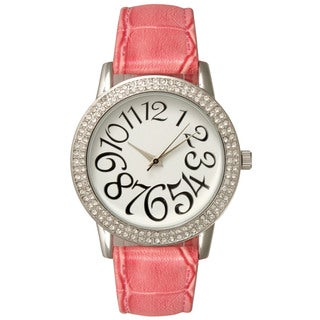 Olivia Pratt Women's Stainless Steel/Leather Rhinestone Accented Watch