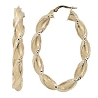 Fremada Italian 14k Yellow Gold Satin And Diamond-cut Finish Twisted Oval Hoop Earrings, 1.9""