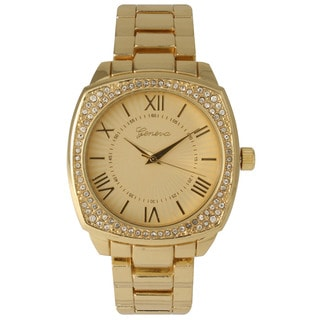 Olivia Pratt Women's Goldtone Stainless Steel Rhinestone Accented Watch