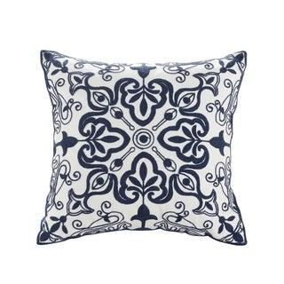 Breeze Embroidered White/Blue Cotton Throw Pillow