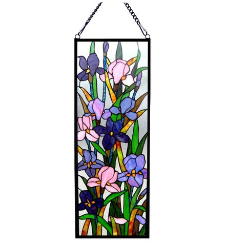 Chloe Tiffany Style Iris Floral Design Window Panel/Suncatcher