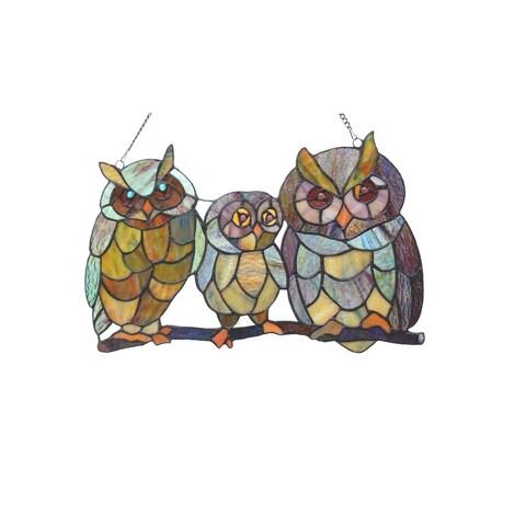 Chloe Tiffany Style Owl Design Window Panel/Suncatcher - M