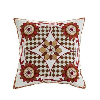 ELight Saffron Multicolored Cotton 18-inch x 18-inch Embroidered Throw Pillow