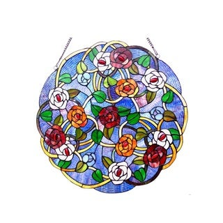 Chloe Tiffany Style Rose Design Round Window Panel/Suncatcher