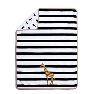 Farallon The Peanut Shell Safari Black/White Polyester Velour Giraffe Blanket