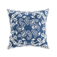 Pastie Embroidered Blue/White Cotton Throw Pillow