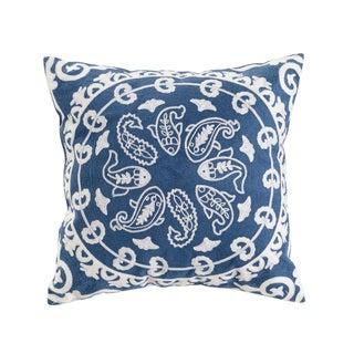 Pastie Embroidered Blue/White Cotton Throw Pillow