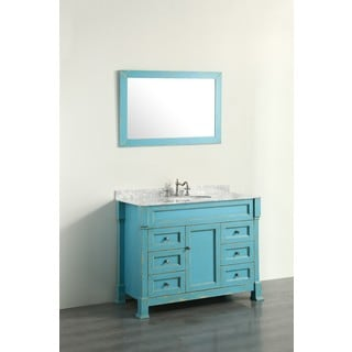 Bosconi Contemporary Distressed Green 43-inch Single Vanity with Mirror