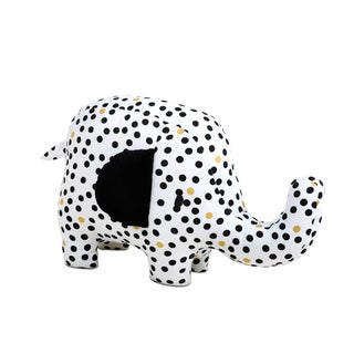 Farallon The Peanut Shell Black/White/Goldtone Cotton Safari Elephant Plush Toy