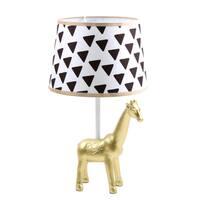 Farallon Goldtone/Black/White Plastic Giraffe Lamp With Triangle Print Shade