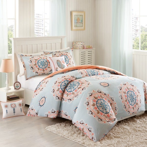 INK+IVY Kids Hana Blue Cotton 4-piece Duvet Cover Set